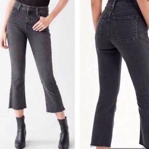 BDG Kick flare crop jeans in black wash